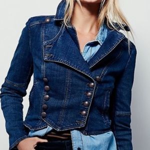Free People NWT Military Band Denim Jacket Small
